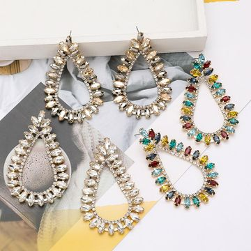 New drop-shaped alloy diamond-studded rhinestone full diamond earrings for women catwalk earrings  NHJE201289