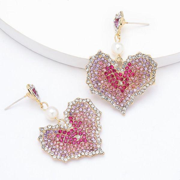 Fashionable high-end multi-layer gradient love heart-shaped alloy diamond rhinestone earrings for women NHJE201290