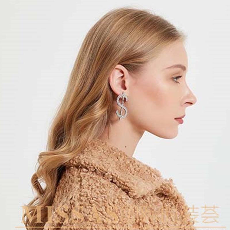 New Dollar Sign Alloy Diamond and Rhinestone Super Flash Earrings wholesales fashion NHJE201293