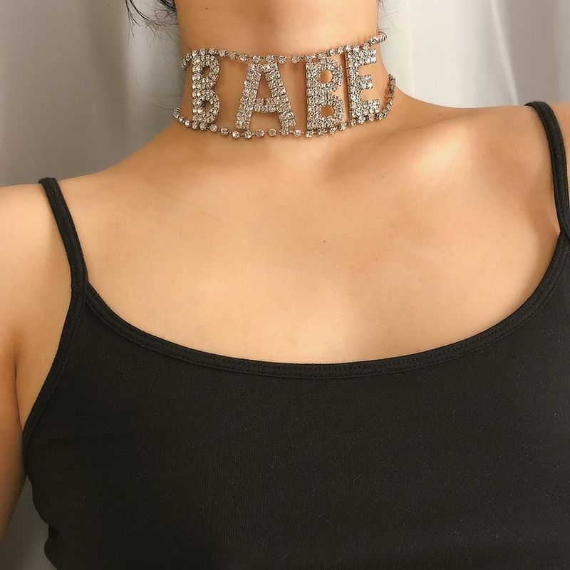 Fashionable new exaggerated flash diamond item with diamond letters BABE necklace NHXR201301