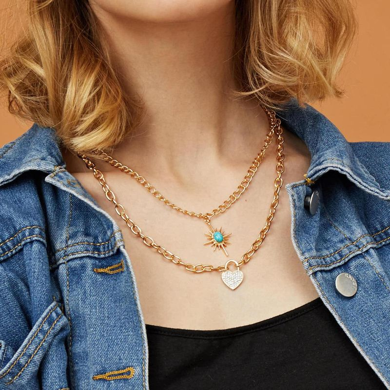 New Fashion Multilayer Necklace with Diamond Heart Lock Women Turquoise Retro Wild Necklace Chain NHXR201312