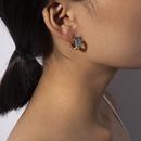 Retro contrast color wild earrings geometric colorful zircon simple earrings NHXR201317