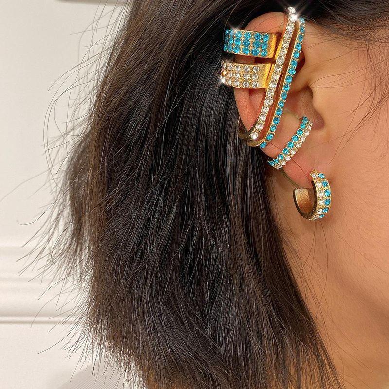 Fashion colorful rhinestone earrings ear clip earrings suit wholesale earrings women NHXR201320