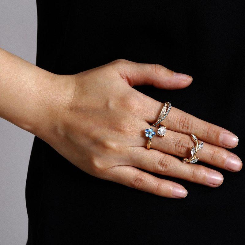 Jewelry blue diamond flower leaf combination set ring ethnic color rhinestone ring NHXR201321