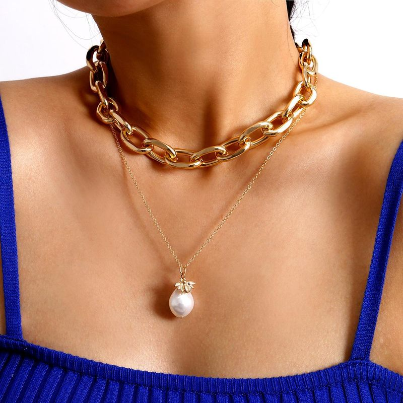 Creative bee pearl multilayer necklace set fashion exaggerated chain stacking necklace NHXR201322