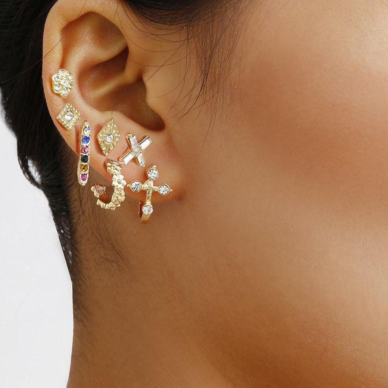 Jewelry rhombus colored rhinestone earrings set combination simple wild earrings wholesales fashion NHXR201323