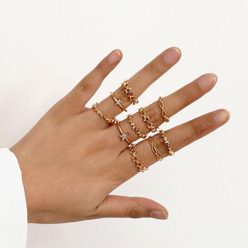 9-piece set ring geometric star hollow micro-inlaid zircon ring set new wholesales fashion NHXR201324