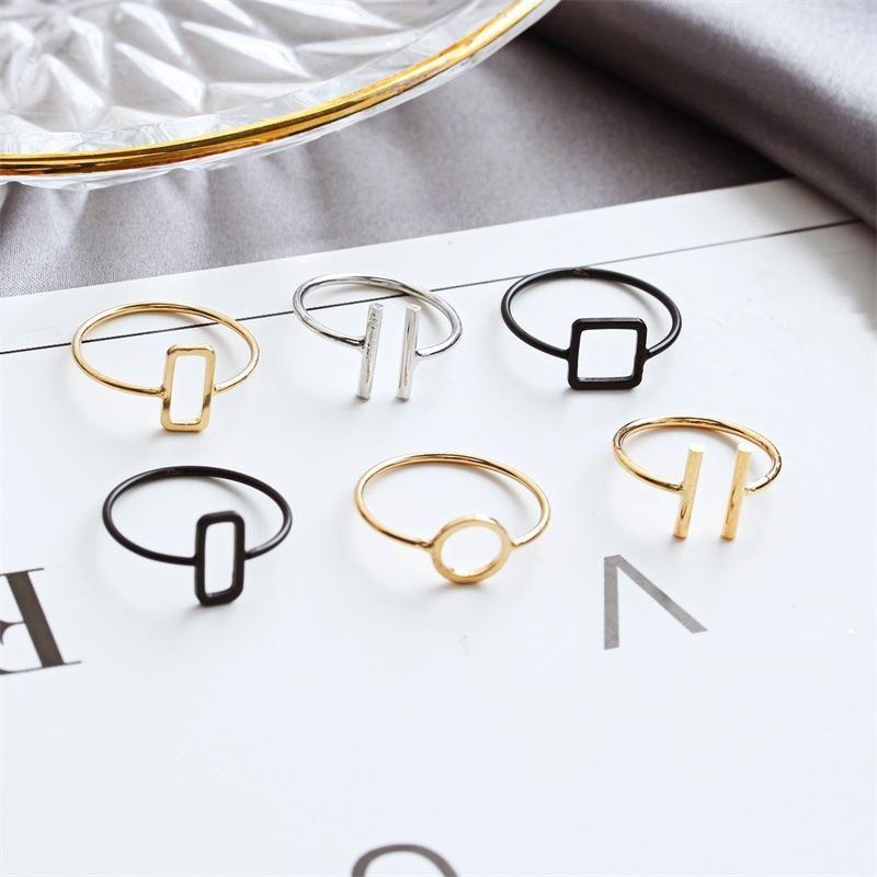 Fashion nihaojewelry Simple Geometric Ring Triangle Square Round Mashup Ring Wholesale  NHDP201336