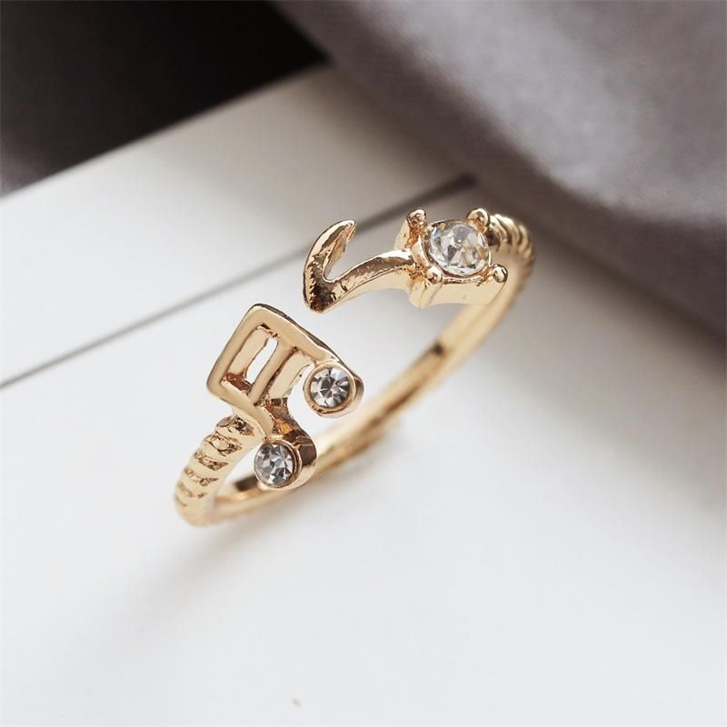 Korea creative rhinestone note thread opening adjustable ring wholesale NHDP201342