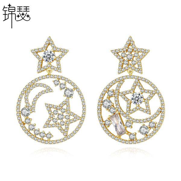Fashion Korean Sweet Lady Xingyue Earrings Hollow Copper Inlaid Zirconium Stud Earrings NHTM201347
