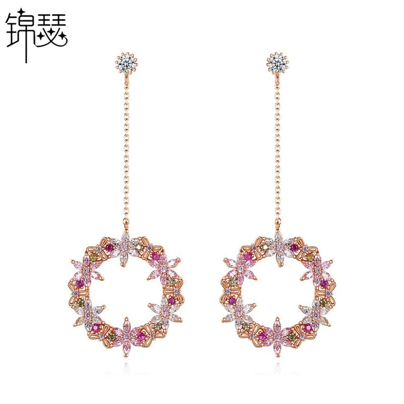 Korean Fashion Simple New Zircon Earrings Sweet Tassel Gold Plated Earrings Wholesale NHTM201348