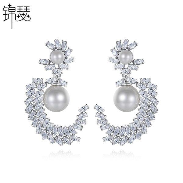 Fashion Copper Inlaid Zircon Earrings Korean Earrings Pearl Earrings Wholesale NHTM201351