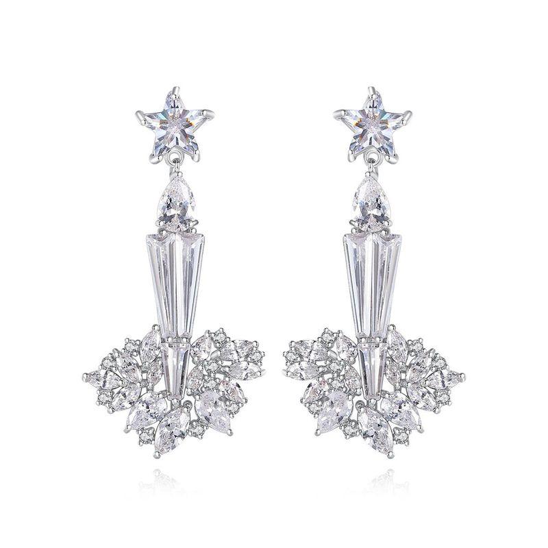 Korean fashion long earrings with zircon earrings wholesale NHTM201352