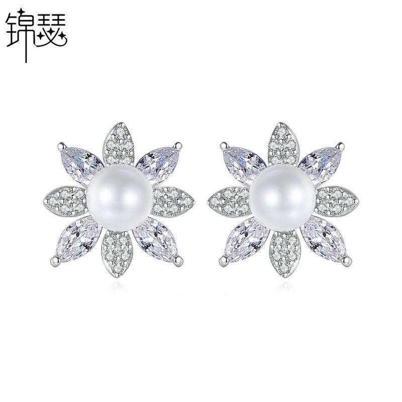 Earring Fashion Korean Sweet Lady Pearl Earrings Copper Zircon Earrings Wholesale NHTM201353