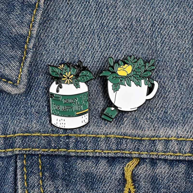 Green plant pot lapel pin coffee tea drink small yellow flower brooch badge wholesale NHBO201355