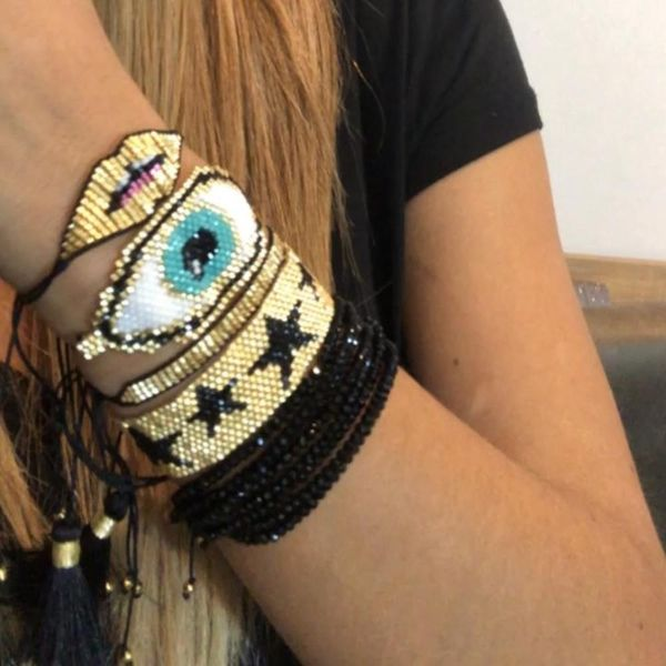 Jewelry Miyuki Mizu Knitted Pentagram Devil's Eye Female Bracelet Crystal Lips wholesales fashion NHGW201370