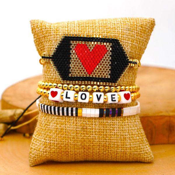 Fashion tila beads with Miyuki rice beads hand-woven love 4mm gold beads set ornaments NHGW201376