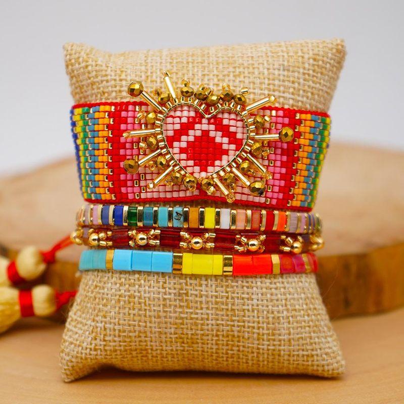Miyuki imported rice beads woven rainbow love female bracelet ethnic style fashion jewelry NHGW201380