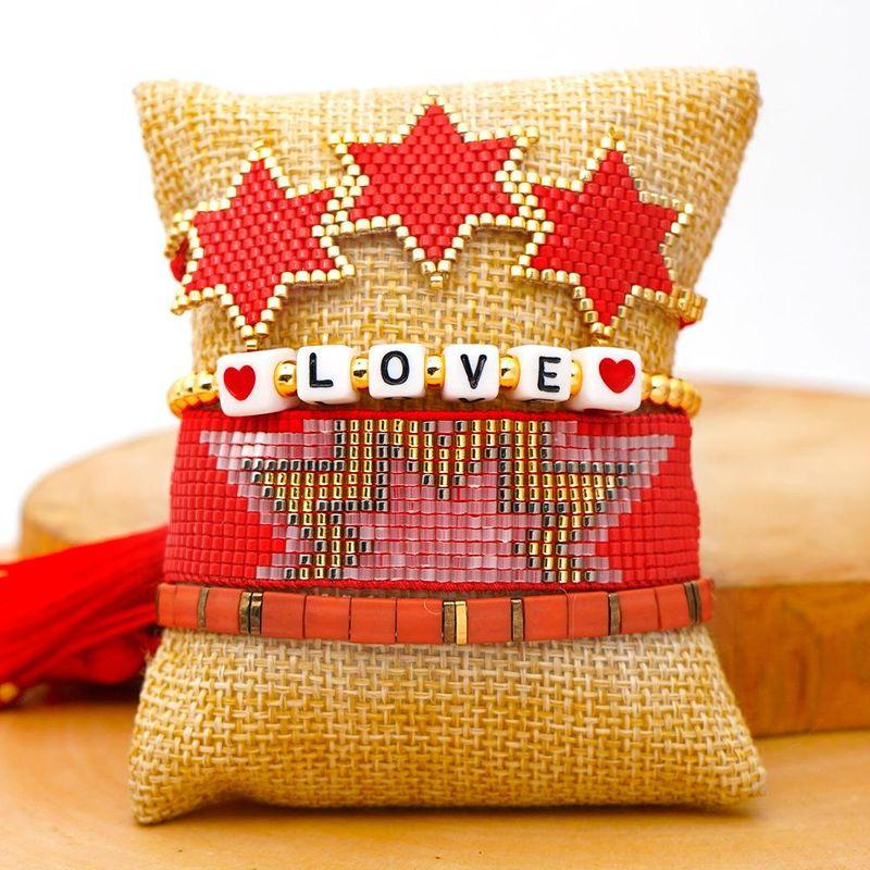 Fashion LOVE gold bead jewelry Miyuki bead hand-woven six-pointed star with ila bead set NHGW201385