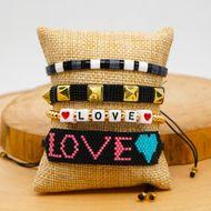 Fashion Miyuki rice beads hand-woven LOVE with rivet 4mm gold bead set decorations NHGW201386