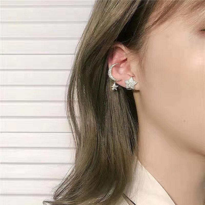 Korean fashion exquisite pierced ear bone clip pearl earrings pentagram star moon leaf ear clip NHYQ201390