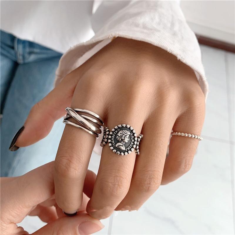 Silver Metal Cross Portrait Ring Female Fashion Retro Opening Forefinger Ring NHYQ201399