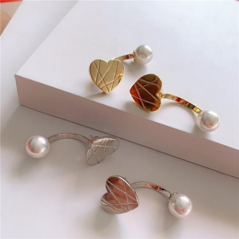 Metal disc love pearl earrings for women niche high-end back hanging studs wholesales fashion NHYQ201407