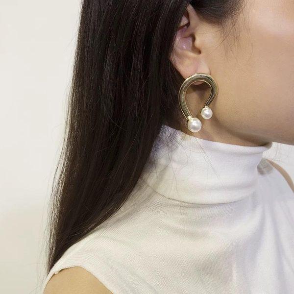 Metal earrings fashion frosty pearl earrings female earrings geometric earrings NHYQ201413