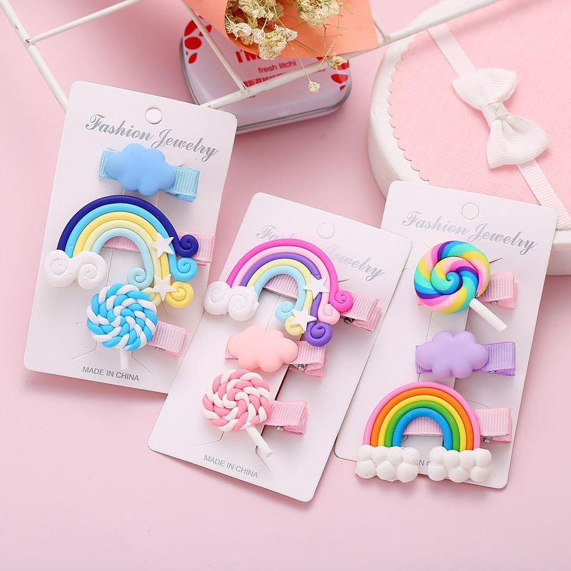 Korean  new creative cute rainbow cloud lollipop hair clip set sweet edge clip NHPJ201420