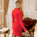 Womens New Sexy Solid Color Split Slim Hollow Simple Long Sleeve Nightclub Style Dress NHDE201424
