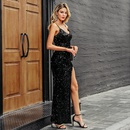 Sexy sequins solid color shot slim banquet party dress womens clothing wholesale NHDE201443