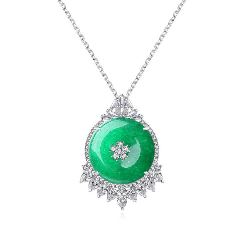 Korean fashion new banquet for women necklace copper inlaid zircon green chalcedony necklace NHTM201349