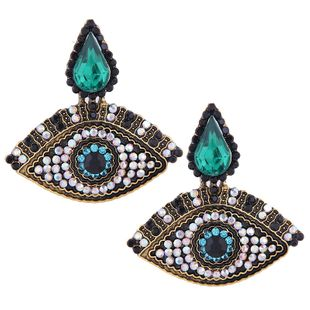 Fashion Metal Flash Diamond Demon Eye Exaggerated Earrings NHSC201832's discount tags