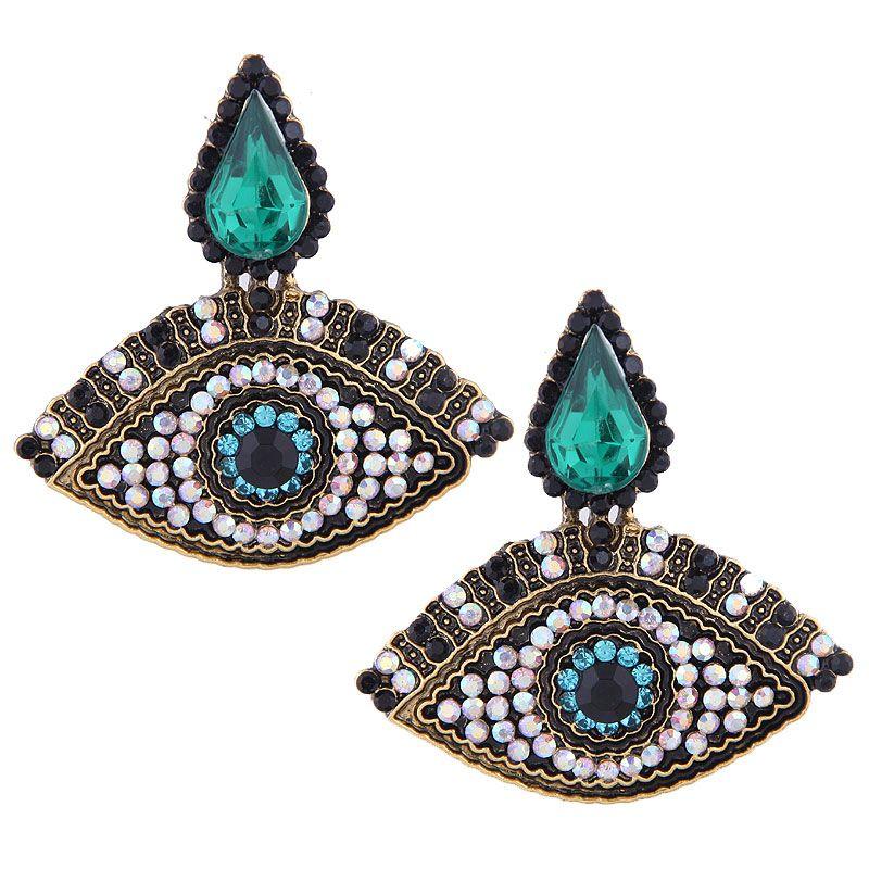 Fashion Metal Flash Diamond Demon Eye Exaggerated Earrings NHSC201832