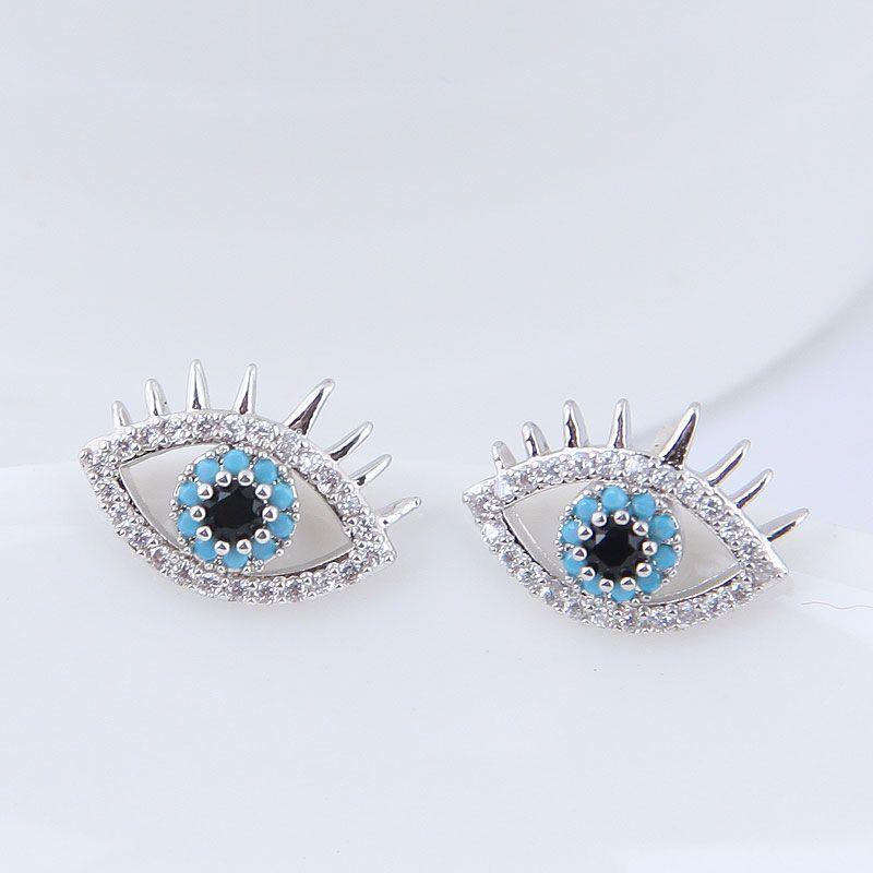 925 Silver Pin Korean Fashion Simple Sweet Zircon Demon Eye Eye Studs NHSC201829