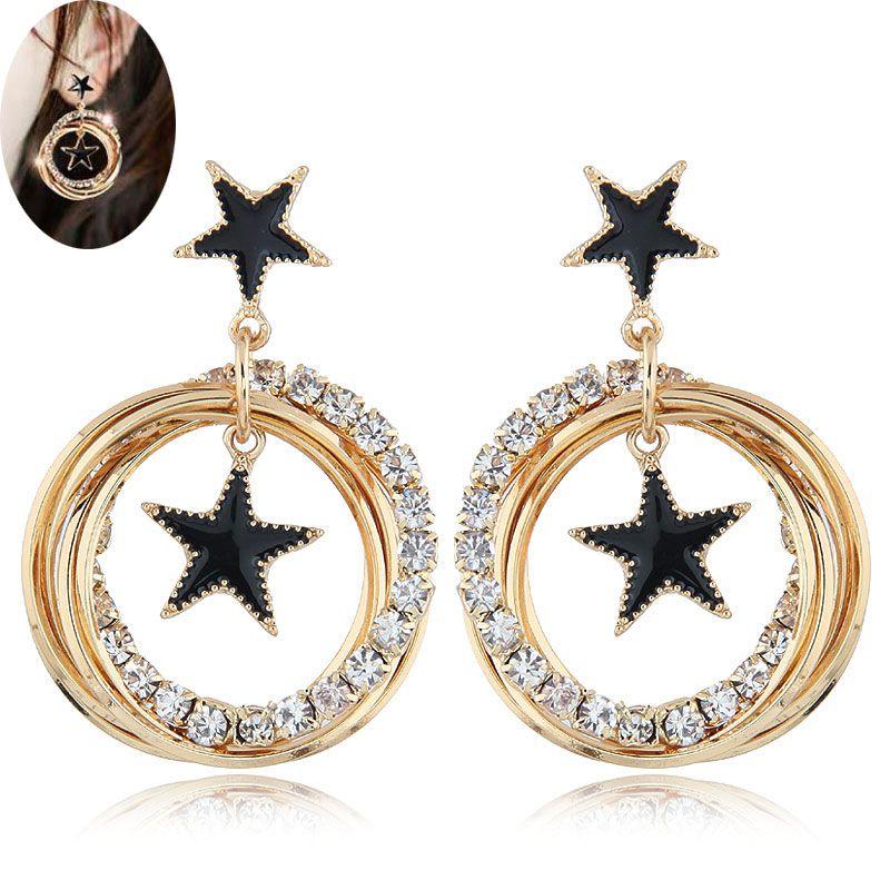 Fashion metal flash diamond simple five-pointed star multi-circle earrings NHSC201822