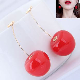 Korean fashion sweet red apple cherry earrings NHSC201817's discount tags