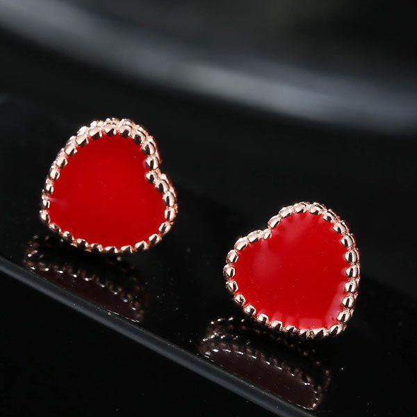 Korean fashion sweet red love earrings NHSC201810