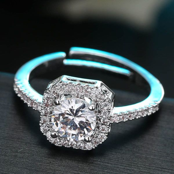 Korean fashion sweet zircon square diamond ring NHSC201804