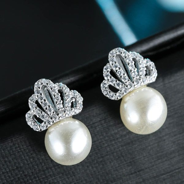 Korean earrings fashion sweet crown pearl earrings NHSC201796