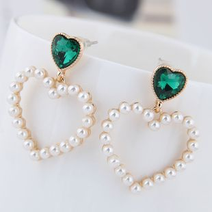 Boutique Korean Fashion Metal Sweet Peach Heart Pearl Stud Earrings NHSC201793's discount tags
