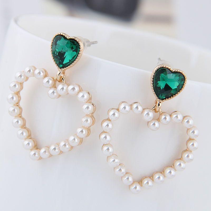 Boutique Korean Fashion Metal Sweet Peach Heart Pearl Stud Earrings NHSC201793