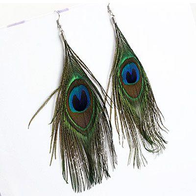 Korean fashion boho ethnic peacock feather earrings NHSC201783
