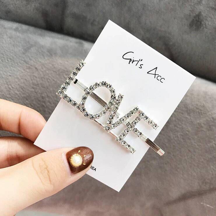 Letter hair clip hair accessories flash diamond letters personalized hair accessories hair clip side clips NHSC201781