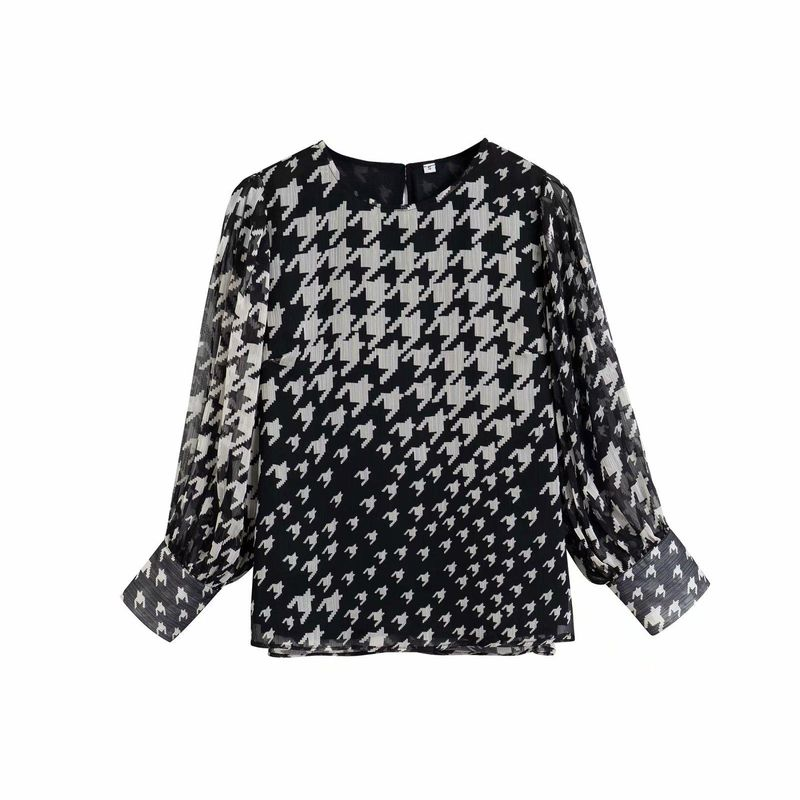 Wholesale Spring Houndstooth Print Double Pullover Women's Chiffon Shirt NHAM201457