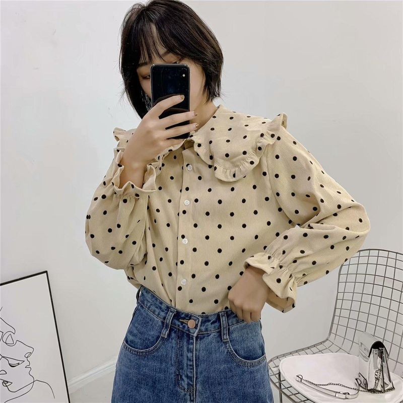 Wholesale Ruffled Polka Dot Collar Long Sleeve Shirt NHAM201461