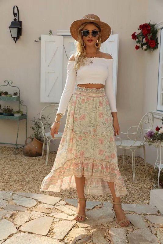 Wholesale Printed Elastic Waist Ruffled Skirt NHAM201466