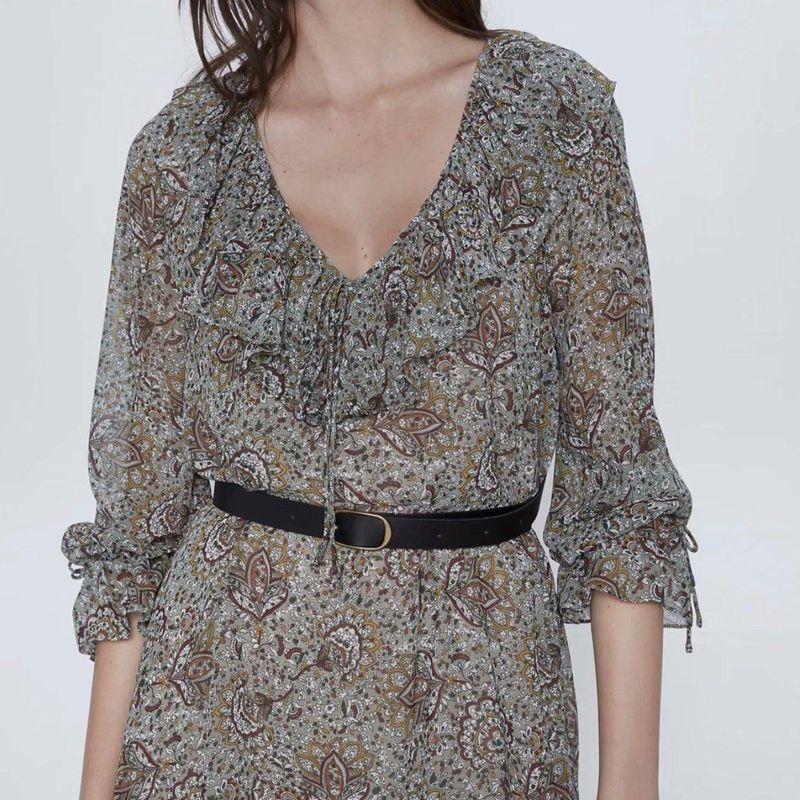 Wholesale new women's printed mini V-neck ruffled flared sleeve dress NHAM201477