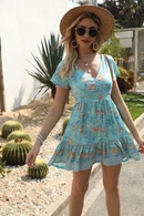 Wholesale spring positioning printed Vneck short sleeve vacation beach dress NHAM201480