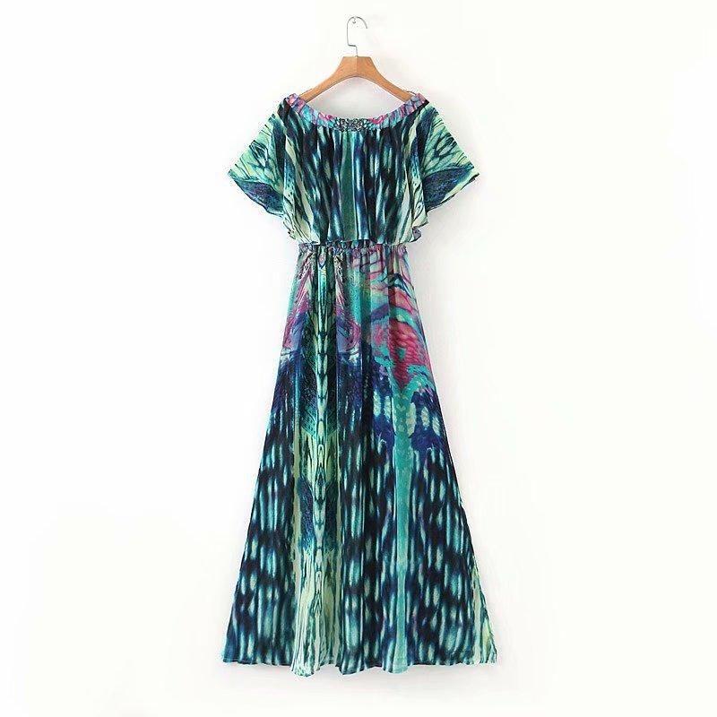 Wholesale spring digital printed rhinestone skirt vacation long dress NHAM201487